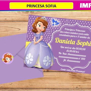 Convite Princesa Sofia- Impresso-Com Envelope e Tag