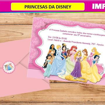 Convite Princesas Disney- Impresso-Com Envelope e Tag
