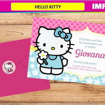 Convite Hello Kitty- Impresso-Com Envelope e Tag