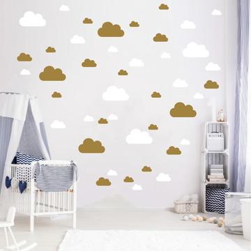 Adesivo nuvens brancas e douradas