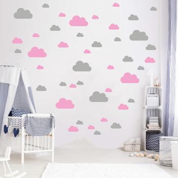 Adesivo nuvens rosa e cinza