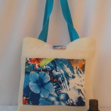 Ecobag Bolsa Sacola Feminina Azul Praiana
