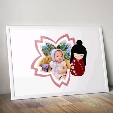 Arte digital/Pôster/quadro com foto- Boneca japonesa kokeshi