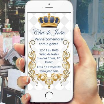 Convite Digital Chá de Bebê - realeza - whatsapp