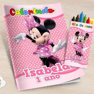 Kit colorir com giz de cera Minnie Rosa Poá