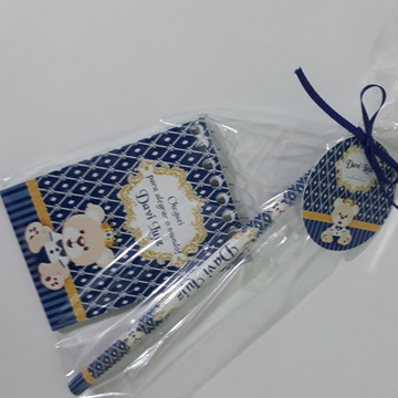 Kit Bloquinho e Lápis + Embalagem + Tag - Urso