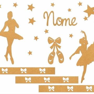 Painel De Parede Bailarina com Nome MDF