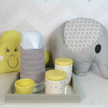 Kit Higiene Porcelana Poa Cinza e amarelo