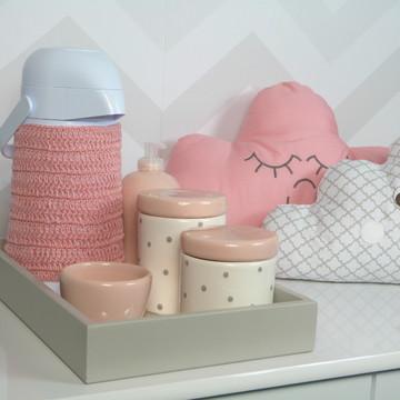 Kit Higiene Porcelana Poa cinza e rosa