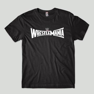 camiseta wwe logo estampada wrestlemania masculina