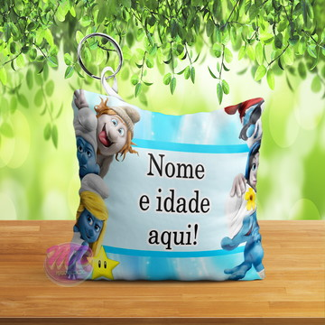 Chaveiro Almofada Personalizados Tema Os Smurfs