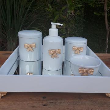 Kit Higiene Bebê Lacinho Dourado Porcelana Bandeja Mdf 5 pçs