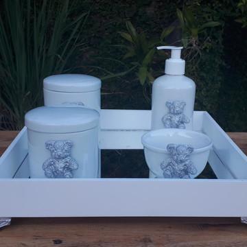 Kit Higiene Bebê Ursinho Prata Porcelana Bandeja Mdf 5 pçs