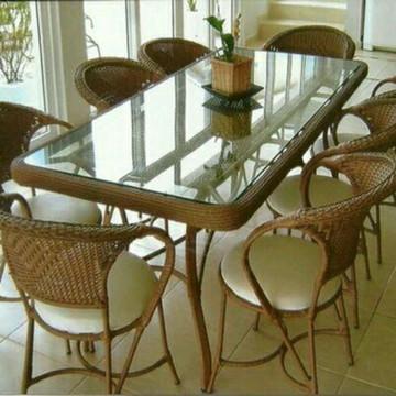 Jogo de mesa com 8 cadeiras sala de jantar