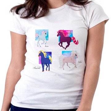 099314cd45 Blusa femina baby look camiseta cavalo de fogo princesa sara
