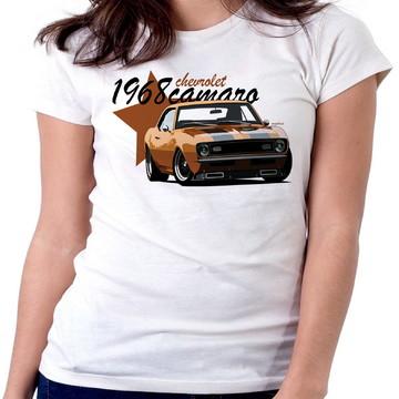 Blusa feminina baby look camiseta camaro carro antigo v8