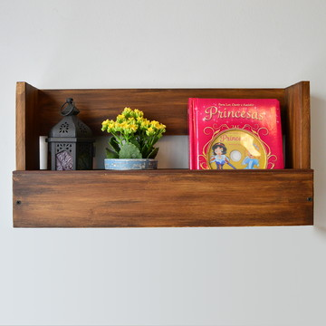 Prateleira para Livros de Madeira Estilo Rústico com Friso