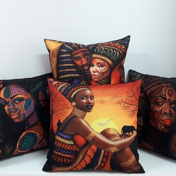kit com 4 almofadas afro tamanho 40x40cm