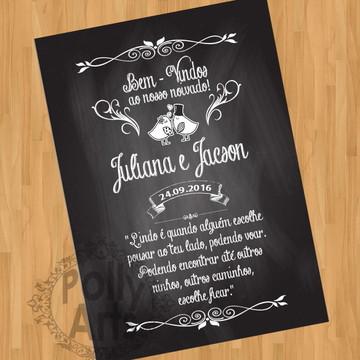 Escolha a Frase Arte Chalkboard quadro Noivado Casamento