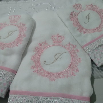 Kit toalha + fralda + babinha