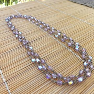 colar cristais lilás furta-cor