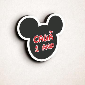 Aplique/placa/quadro com texto - orelha Mickey