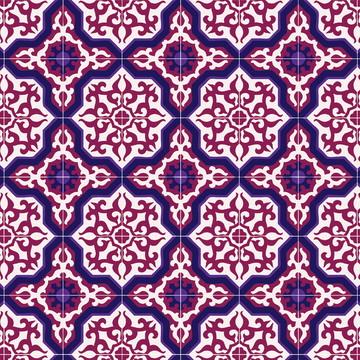 Papel de Parede Azulejo em Bordô e Roxo Sobre Branco