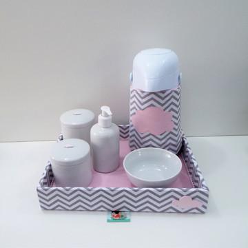 Coleção Nas Nuvens Kit Higiene Chevron Cinza Nuvem Rosa BT31