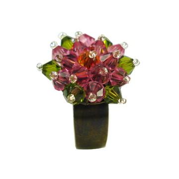 Anel de Crystal Bouquet Flower Colorido
