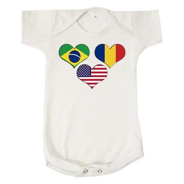 Body Bebê Infantil Países Coração Brasil Romênia EUA
