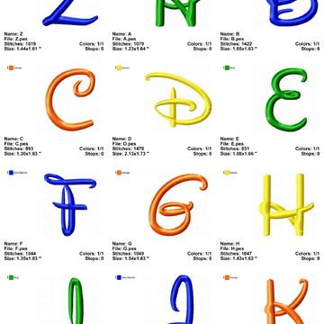 Matriz De Bordado Alfabeto Letras Disney