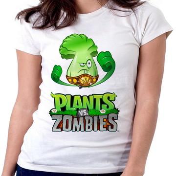 Blusa feminina baby look camiseta Plants vs Zombies Android