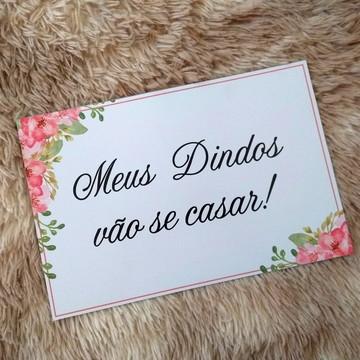Plaquinha Meus dindos vão se casar! Flores rosas
