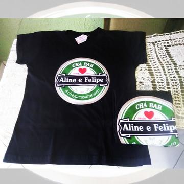 Camiseta em Algodão Preta Personalizada Chá Bar Barnela