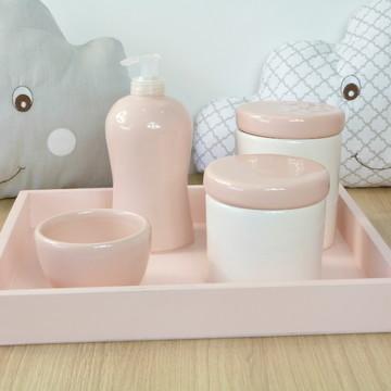Kit Higiene Bebe Porcelana Rosa com Bandeja 1