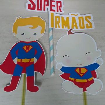 Topo de Bolo Super Heroi Cute