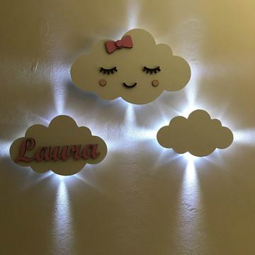 Trio De Luminárias Decorativa Em Formato De Nuvem Mdf Branco