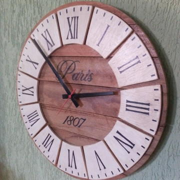 Relógio Rústico Pallet relevo