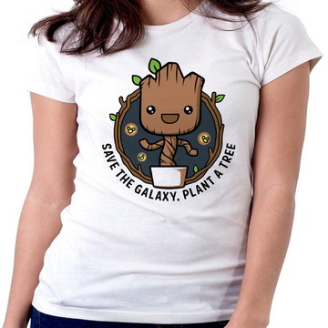46964bdf68 Blusa feminina baby look camiseta plante uma arvore groot