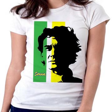 Blusa feminina baby look camiseta Ayrton Senna formula carro