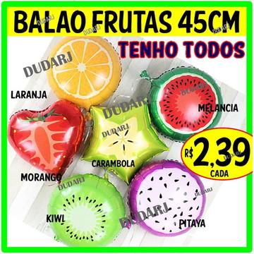 Balão metalizado fruta frutas 45cm