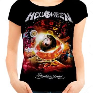 72a8060b3 Camiseta Babylook Feminina - Helloween - Pumpkins United