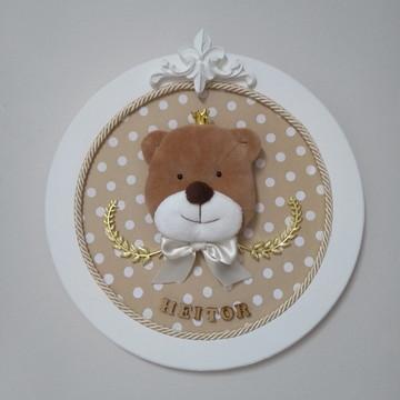 Quadro Porta Maternidade Urso com coroa