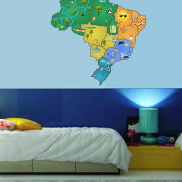 Adesivo Decorativo Mapa do Brasil Infantil