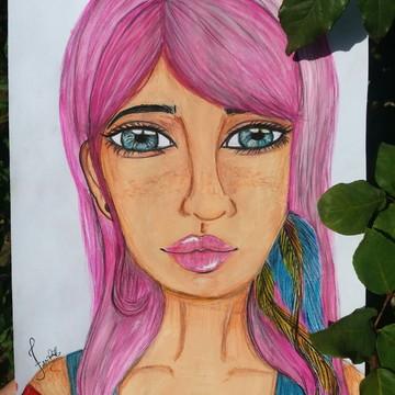 Poster Menina de Cabelo rosa