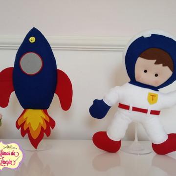 kit astronauta e foguete em feltro