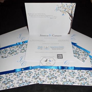 Convite Floral- Azul