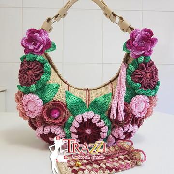 Bolsa Bella - Cru/Multicolorida