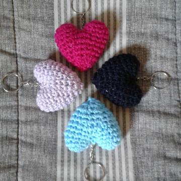 Chaveiros Corações em Crochê Amigurumi