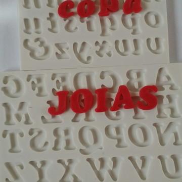 molde de silicone alfabeto/numeros